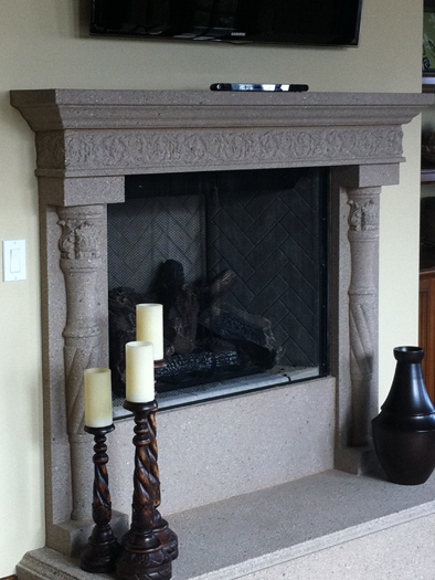 Basson Fireplace Mantel by Precast Innovations, Inc.